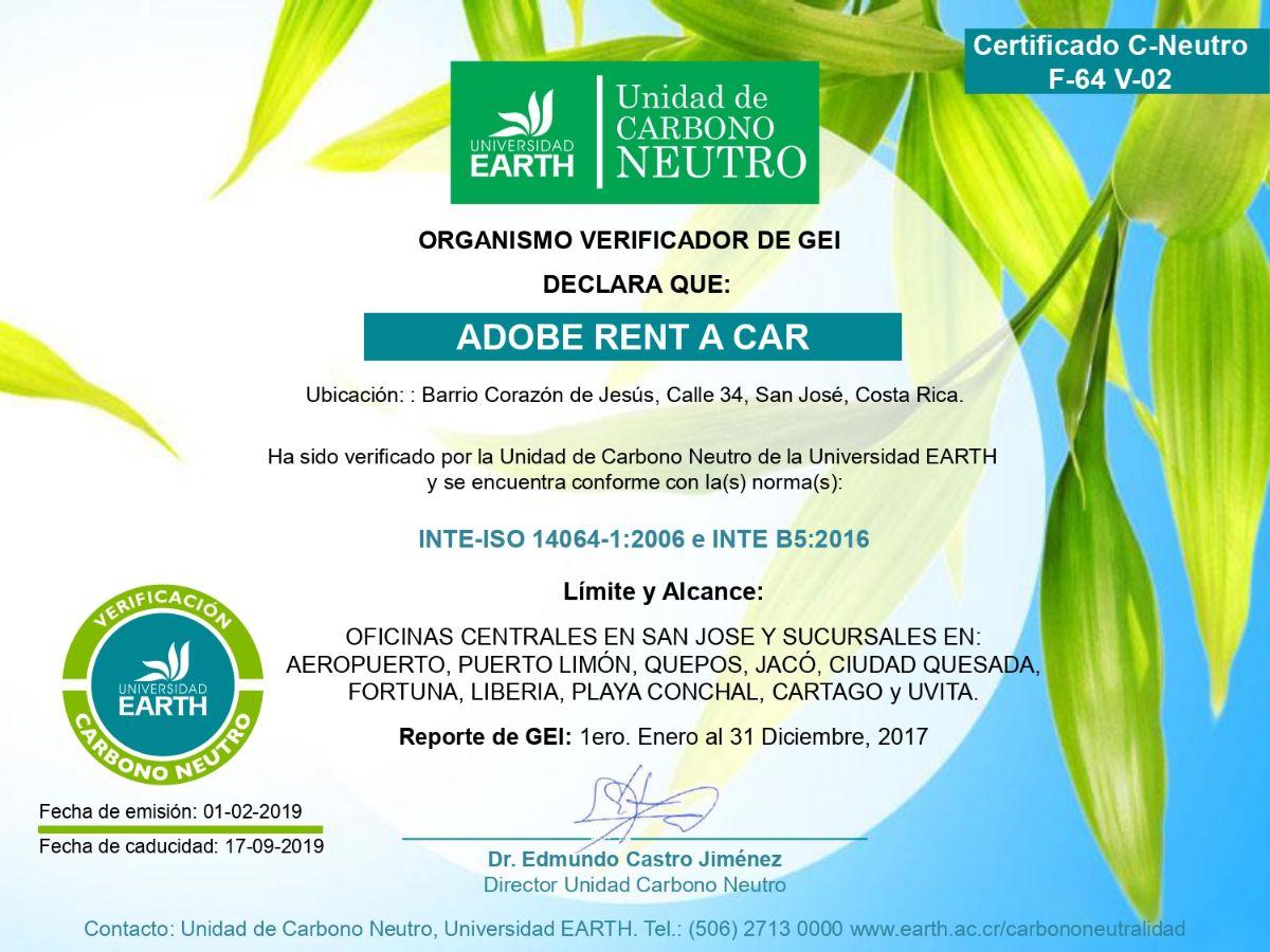 Certificado Carbono Neutro - Adobe Rent a Car