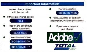 Adobe Rent a Car Emergency Info